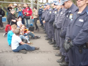 Activist from all generations approached the police line